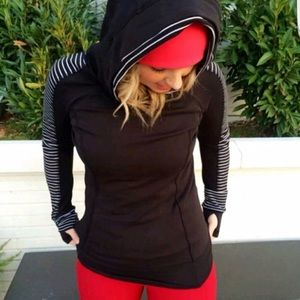 Lululemon Think Fast Parallel Stripe Black Hoodie